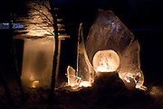 Artist Jennifer Hedberg's ice scultures at the 2010 Luminary Loppet.