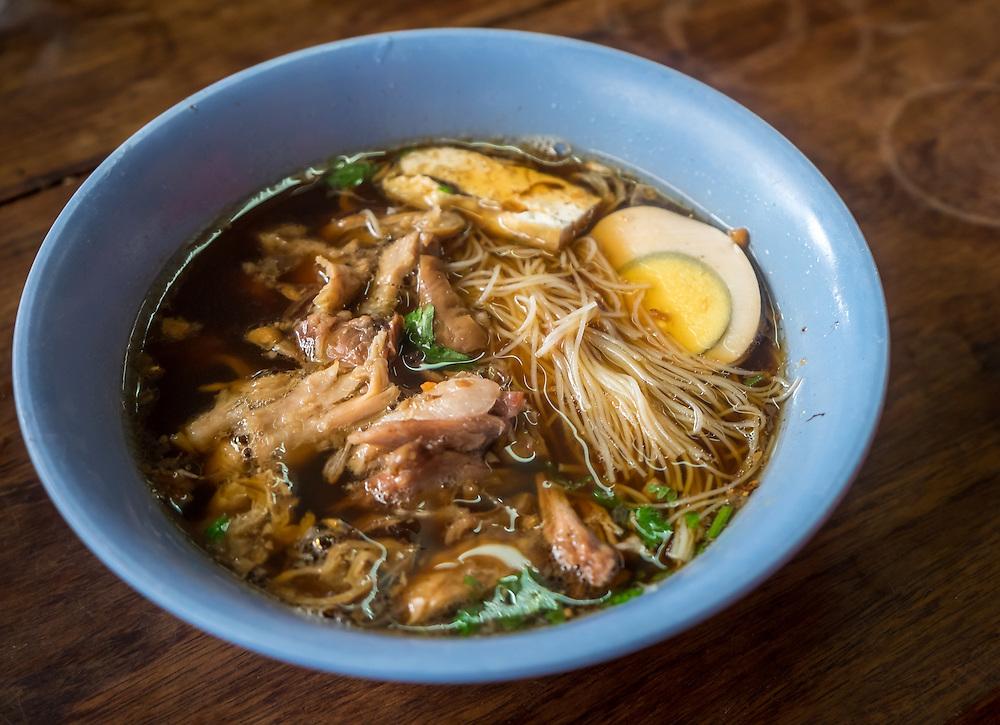 MAE KLONG - TAHILAND - CIRCA SEPTEMBER 2014: Noodle Soup, food in the stalls at the Maeklong Railway Market