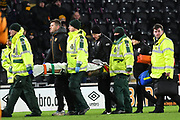 Barnsley FC defender Adam Jackson (18) is taken off after he is injured during the EFL Sky Bet Championship match between Hull City and Barnsley at the KCOM Stadium, Kingston upon Hull, England on 27 February 2018. Picture by Ian Lyall.