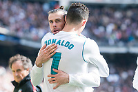 Real Madrid Cristiano Ronaldo  and Gareth Bale celebrating a goal during La Liga match between Real Madrid and Atletico de Madrid at Santiago Bernabeu Stadium in Madrid, Spain. April 08, 2018. (ALTERPHOTOS/Borja B.Hojas)