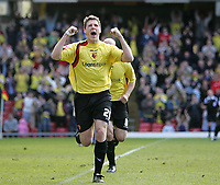 Photo: Lee Earle.<br /> Watford v Ipswich Town. Coca Cola Championship. 17/04/2006. Watford's Darius Henderson celebrates after scoring their second.