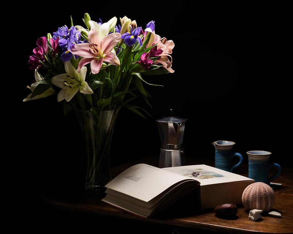 Flowers and coffee, Brechin, Scotland