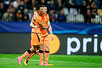 MARIBOR, SLOVENIA - OCTOBER 17: Trent Alexander-Arnold of Liverpool FC and James Milner of Liverpool FC celebrate after scoring seventh goal during UEFA Champions League 2017/18 group E match between NK Maribor and Liverpool FC at Stadium Ljudski vrt, on October 17, 2017 in Maribor, Slovenia. (Photo by Vid Ponikvar / Sportida)