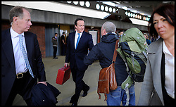 The Prime Minister David Cameron on the platform at Derby Stationbefore his  Local election launch in Afreton, Monday April 16, 2012. Photo By Andrew Parsons/I-images