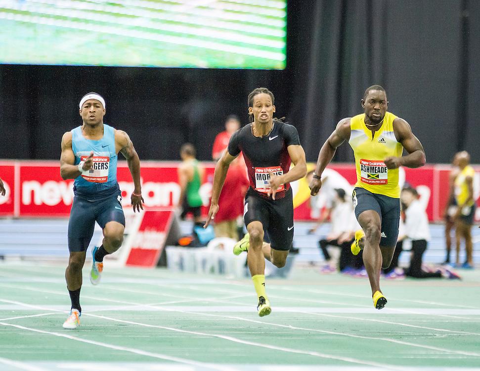 New Balance Indoor Grand Prix Track, mens 60m dash, Rodgers, Morris, Ashmeade (heat)