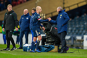 Steven Naismith (#9) of Scotland shakes hands with Scotland manager, Steve Clarke after being substituted during the UEFA European 2020 Group I qualifier match between Scotland and Kazakhstan at Hampden Park, Glasgow, United Kingdom on 19 November 2019.