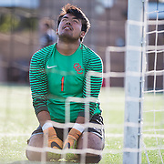 The goalie for Orange Coast College shows disappointment after a goal from Santa Ana Collage was scored against them at the game on Friday, November 4, 2016 in Santa Ana, California. <br /> <br /> Photo by Morgan Lieberman/ Sports Shooter Academy