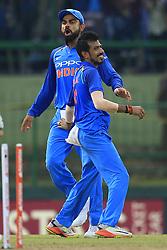 August 24, 2017 - Kandy, Sri Lanka - Indian captain Virat Kohli  and Yuzvendra Chahal celebrate after taking the wicket of Sri Lanka's Danushka Gunathilaka during the 2nd One Day International cricket match between Sri Lanka and India at the Pallekele international cricket stadium at Kandy, Sri Lanka on Thursday 24 August 2017. (Credit Image: © Tharaka Basnayaka/NurPhoto via ZUMA Press)