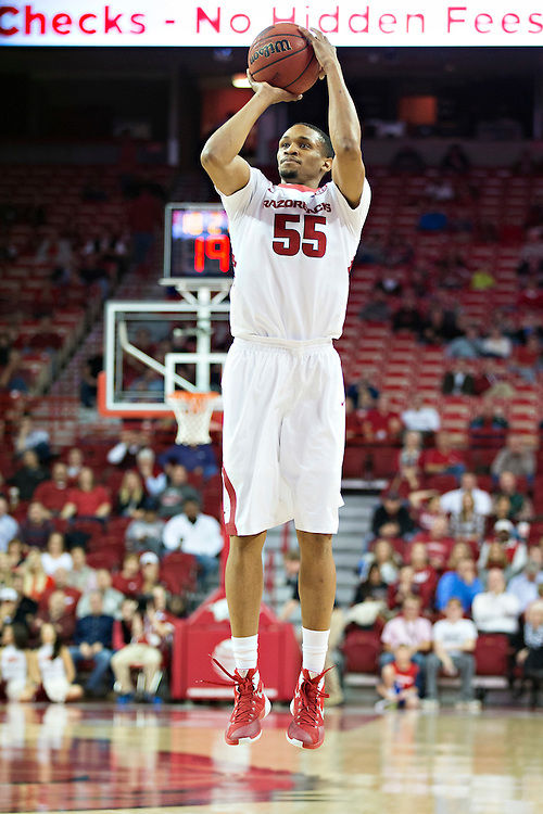 FAYETTEVILLE, AR - NOVEMBER 18:  Keaton Miles #55 of the Arkansas Razorbacks shoots a jump shot during a game against the Akron Zips at Bud Walton Arena on November 18, 2015 in Fayetteville, Arkansas.  The Zips defeated the Razorbacks 88-80.  (Photo by Wesley Hitt/Getty Images) *** Local Caption *** Keaton Miles