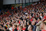 Wales fans sing the national anthem during the UEFA European 2020 Qualifier match between Wales and Azerbaijan at the Cardiff City Stadium, Cardiff, Wales on 6 September 2019.