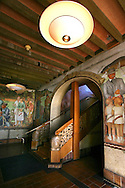 Beach Chalet WPA Murals - The Beach Chalet is at the edge of Golden Gate Park facing the Pacific Ocean.  The ground floor is set in intricate wood carvings, created by Michael Von Meyeran.  There is also and an interpretive exhibit of the fresco murals by Lucien Labaudt. The murals depict depression era scenes of San Francisco which have become synonymous with San Francisco.  The Embarcadrero, Fisherman's Wharf, Baker Beach, Golden Gate Park, Land's End, the Marina and Chinatown are all shown in 30s deco frescos. The woodcarvings consist of an intricate balustrade with octopus newel posts, a sea monster, mermaids, divers, and even old ships.