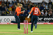 Wicket - Sophie Ecclestone of England celebrates taking the wicket of Delissa Kimmince of Australia lbw during the 3rd Vitality International T20 match between England Women Cricket and Australia Women at the Bristol County Ground, Bristol, United Kingdom on 31 July 2019.