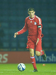 LEICESTER, ENGLAND - Tuesday, January 12, 2010: Liverpool's captain Conor Coady in action against Leicester City during the FA Youth Cup 4th Round match at the Walkers Stadium. (Photo by David Rawcliffe/Propaganda)