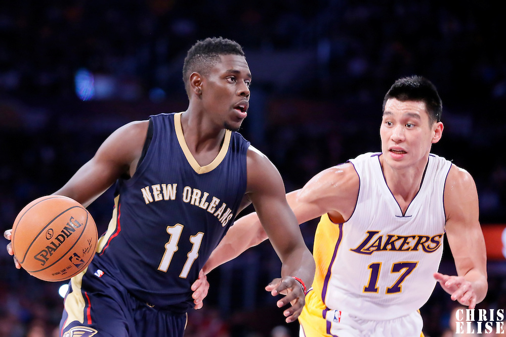 07 December 2014: New Orleans Pelicans guard Jrue Holiday (11) drives past Los Angeles Lakers guard Jeremy Lin (17) during the New Orleans Pelicans 104-87 victory over the Los Angeles Lakers, at the Staples Center, Los Angeles, California, USA.