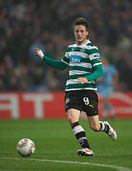 MANCHESTER, ENGLAND - Thursday, March 15, 2012: Sporting Clube de Portugal's Ricky van Wolfswinkel in action against Manchester City during the UEFA Europa League Round of 16 2nd Leg match at City of Manchester Stadium. (Pic by David Rawcliffe/Propaganda)
