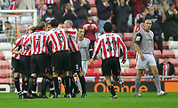 Photo. Andrew Unwin,Digitalsport<br /> Sunderland v Crewe Alexandra, Nationwide League Division One, Stadium of Light, Sunderland 10/08/2004.<br /> Sunderland celebrate an early goal scored by Carl Robinson.