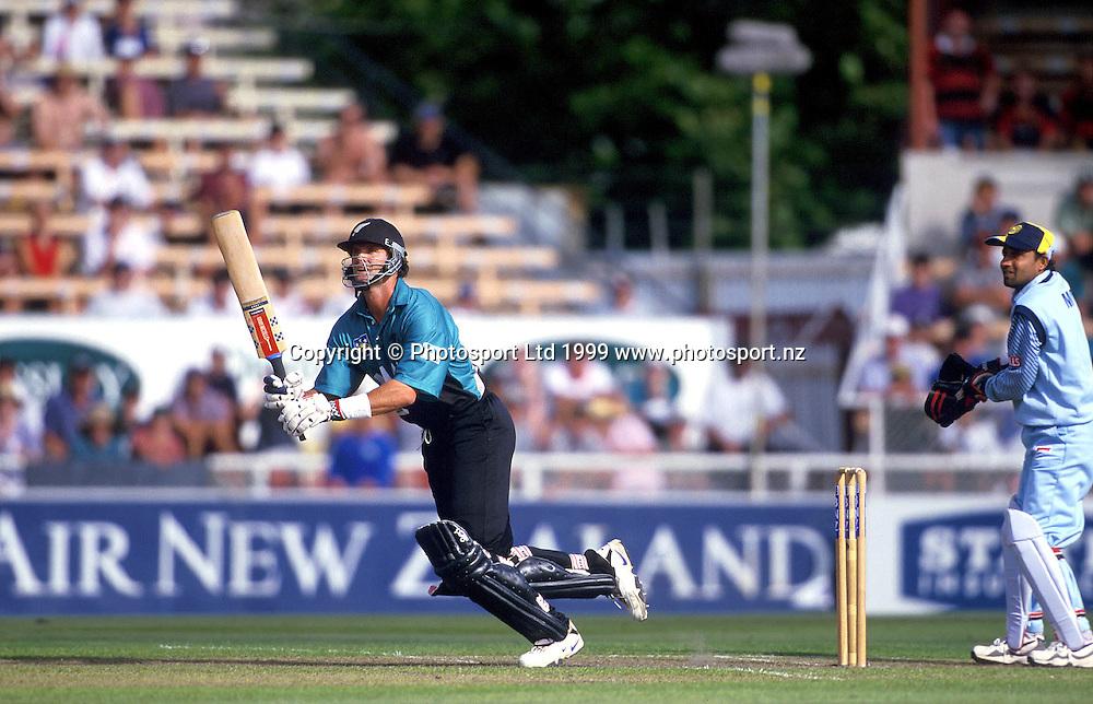 Chris Cairns bats during the cricket ODI between New Zealand and India, January, 1999. Photo: Andrew Cornaga/PHOTOSPORT