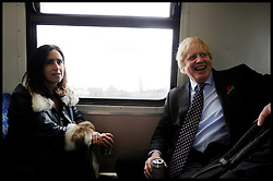 London Mayor Boris Johnson on his way to Borough Market with his wife Marina Johnson on the final week of his Mayoral Campaign, London, UK, April 21, 2012. Photo By Andrew Parsons / i-Images.