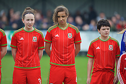 NEWPORT, WALES - Sunday, April 3, 2016: Wales' Hannah Davies, Amina Vine and Emily Jones line-up before the game against Northern Ireland on Day 3 of the Bob Docherty International Tournament 2016 at Dragon Park. (Pic by David Rawcliffe/Propaganda)