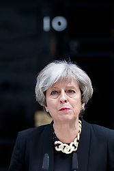 © Licensed to London News Pictures. 04/06/2017. London, UK. Prime Minister THERESA MAY gives a statement following a terror attack that killed 6 people on London Bridge and Borough in central London. Photo credit: Tolga Akmen/LNP