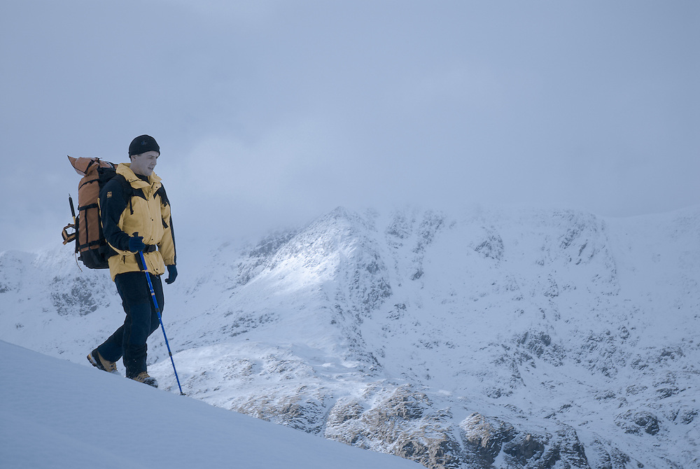 Winter walking, mountaineering, Grisedale, Patterdale, Ullswater, with Helvellyn beyond, in the snow, lake District, Cumbria, UK