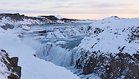 Gullfoss waterfall in winter. South Iceland.