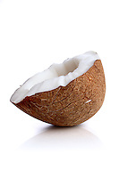 Studio shot of coconut on white background