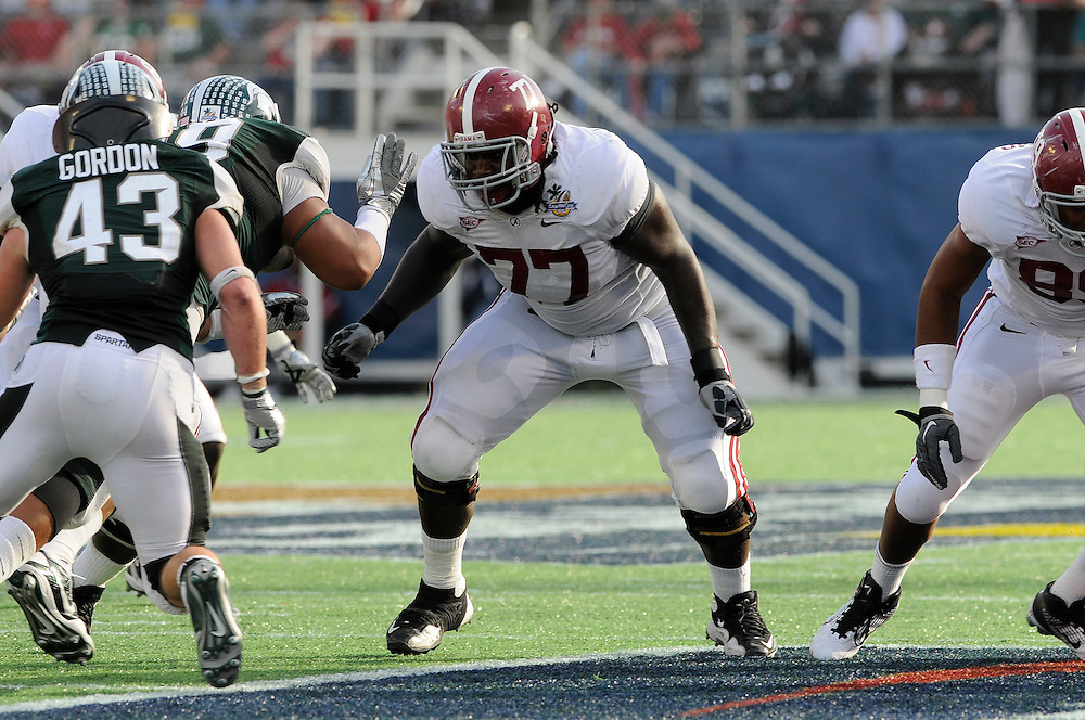 January 1, 2011: James Carpenter of the Alabama Crimson Tide in action during the NCAA football game between Michigan State Spartans and the Alabama Crimson Tide at the 2011 Capital One Bowl in Orlando, Florida. Alabama defeated Michigan State 49-7.