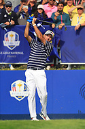 Bubba Watson (Team USA) on the 1st tee during the Friday Foursomes at the Ryder Cup, Le Golf National, Ile-de-France, France. 28/09/2018.<br /> Picture Thos Caffrey / Golffile.ie<br /> <br /> All photo usage must carry mandatory copyright credit (© Golffile | Thos Caffrey)