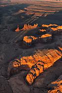 sunset, Totem Pole, Monument Valley, Arizona, aerial photo