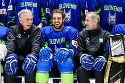 Mike Zettel (assistant coach), Anze Kopitar and Ivo Jan (head coach) at ice hockey practice one day before at IIHF World Championship DIV. I Group A Kazakhstan 2019, on April 28, 2019 in Barys Arena, Nur-Sultan, Kazakhstan. Photo by Matic Klansek Velej / Sportida