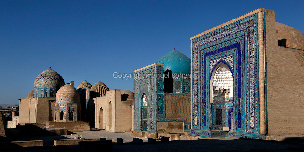 View from the side of Shakhi-Zinda Necropolis, 14th-15th century, Samarkand, Uzbekistan, seen in the early morning summer light on July 19, 2010.  Samarkand, a city on the Silk Road, founded as Afrosiab in the 7th century BC, is a meeting point for the world's cultures. Its most important development was in the Timurid period, 14th to 15th centuries.