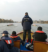 London, Great Britain. Oxford, OUBC [Blue Boat] v. Leander Club, view from the Umpires Launch, as Oxford start to draw close to Leander,  Pre Boat race fixture over the Championship Course  River Thames. Single race piece - Putney to Chiswick Pier.  on Saturday  12/03/2011 [Mandatory Credit; Karon Phillips/Intersport Images]..Crews:.Oxford OUBC: Bow Moritz HAFNER, Ben MYERS, Dave WHIFFIN,  Ben ELLISON,  Karl HUDSPITH,  Alec DENT,  George WHITTAKER, Stroke Constantine LOULOUDIS, Cox Sam WINTER-LEVY. ..Leander: Bow Oliver HOLT,  Will GRAY,  Graham HALL,  John CLAY,  James ORME,  Tom CLARK,  Ben DUGGAN, Stroke David LAMBOURN, Cox Alex OLIJNYK..