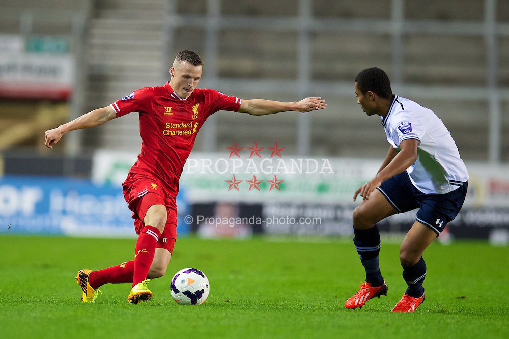 ST HELENS, ENGLAND - Monday, October 7, 2013: Liverpool's Brad Smith in action against Tottenham Hotspur during the Under 21 FA Premier League match at Langtree Park. (Pic by David Rawcliffe/Propaganda)