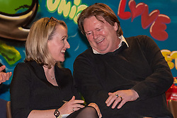 © Licensed to London News Pictures. 27/01/2020. Oxford, UK. Rebecca Long-Bailey sits and laughs with Ian Hodson the National President of the Bakers Food & Allied Workers Union (BFAWU) at a Labour leadership campaign event held in the Glow Hall at the Blackbird Leys Community Centre in Oxford. Photo credit: Peter Manning/LNP