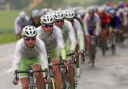 Riders of team Perutnina Ptuj (in front Kristjan Durasek of Croatia (Perutnina Ptuj),  Kristjan Fajt of Slovenia (Perutnina Ptuj) and Gregor Gazvoda of Slovenia (Perutnina Ptuj)) leading the peloton in last 4th stage of the 15th Tour de Slovenie from Celje to Novo mesto (157 km), on June 14,2008, Slovenia. (Photo by Vid Ponikvar / Sportal Images)/ Sportida)