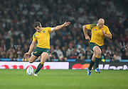 Australia's fly half Bernard Foley kicking off after England scoring a penalty during the Rugby World Cup Pool A match between England and Australia at Twickenham, Richmond, United Kingdom on 3 October 2015. Photo by Matthew Redman.