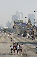 6 March, 2005:  Elite runners run with West Los Angeles in the background during the 20th running of the LA Marathon  in Los Angeles, CA..