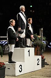 Podium Grand Prix of Basel<br /> 1. Bost Roger Yves (FRA)<br /> 2. Ehning Markus (GER)<br /> 3. Bengtsson Rolf Göran (SWE) <br /> CSI Basel 2012<br /> © Hippo Foto - Katja Struppia