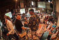 "Drew Seneca and Duane Johnson start off a session during ""Duanestock"" held in Johnson's 133 year old barn on Saturday evening with family and friends.  (Karen Bobotas/for the Laconia Daily Sun)"