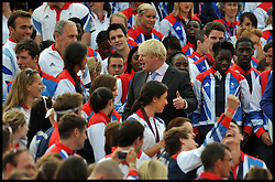 London Mayor Boris Johnson Talks to Athletes at The Olympic and Paralympic Parade at the Queen Victoria Memorial, London, Monday September 10, 2012 Photo Andrew Parsons/i-Images..All Rights Reserved ©Andrew Parsons/i-Images