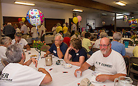 Volunteers gathered for an ice cream social following the completion of the 10 week Got Lunch Laconia program held at the Congregational Church on Monday afternoon.   Enjoying an ice cream sundae are volunteers Nan Baker, John Kreitler, Mary Sorrell and Bill Gile.   (Karen Bobotas/for the Laconia Daily Sun)