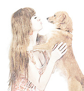 desaturated Digitally enhanced image of Human and Dog face to face