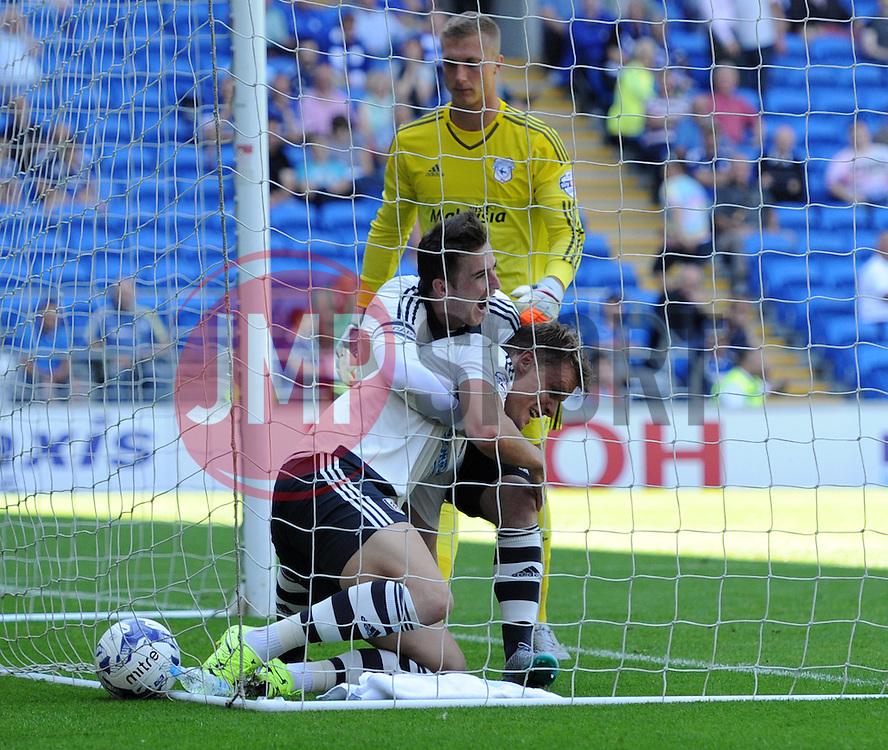 Matt Smith of Fulham celebrates his opening goal against Cardiff City - Mandatory by-line: Paul Knight/JMP - Mobile: 07966 386802 - 08/08/2015 -  FOOTBALL - Cardiff City Stadium - Cardiff, Wales -  Cardiff City v Fulham - Sky Bet Championship