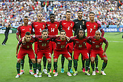 Portugal line up during the Euro 2016 final between Portugal and France at Stade de France, Saint-Denis, Paris, France on 10 July 2016. Photo by Phil Duncan.