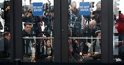 """Media wait inside the Leighton Criminal Court Building for attorneys, family members and supporters of Jussie Smollett, following Smollett's hearing and charge of a felony disorderly conduct, Thursday, Feb. 21, 2019 in Chicago. A Chicago judge has said charges that US actor Jussie Smollett staged a hoax hate crime against himself are """"utterly outrageous"""" and """"despicable"""" if true. The 36-year-old African-American actor is accused of filing a fake police report claiming he was the victim of a homophobic and racist assault. Photo by Antonio Perez/ Chicago Tribune/TNS/ABACAPRESS.COM"""