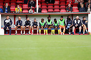 AFC Wimbledon bench during the Pre-Season Friendly match between Ebbsfleet and AFC Wimbledon at Stonebridge Road, Ebsfleet, United Kingdom on 29 July 2017. Photo by Matthew Redman.