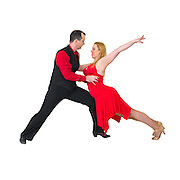 Couple ball room dancers On white Background