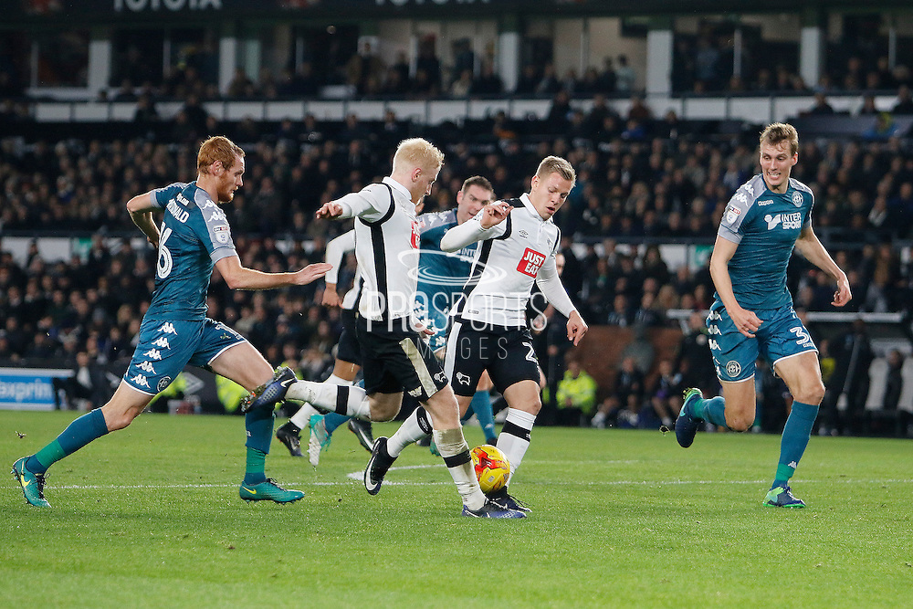 Derby County midfielder Will Hughes (19) and Derby County striker Matej Vydra (23) during the EFL Sky Bet Championship match between Derby County and Wigan Athletic at the iPro Stadium, Derby, England on 31 December 2016. Photo by Richard Holmes.
