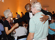 COOPERSTOWN, NY - JULY 26:  2014 Hall of Fame inductee Frank Thomas reunites with former White Sox manager Jeff Torborg and wife Suzie during a private reception held at Templeton Hall in Cooperstown, New York on July 26 2014.